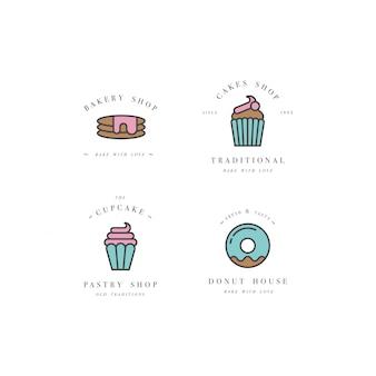 Establecer plantillas de diseño y emblemas: icono de cupcake, donut y hornear para panadería. tienda de dulces.