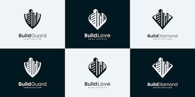 Establecer plantillas de diseño de logotipo de bienes raíces de colección.
