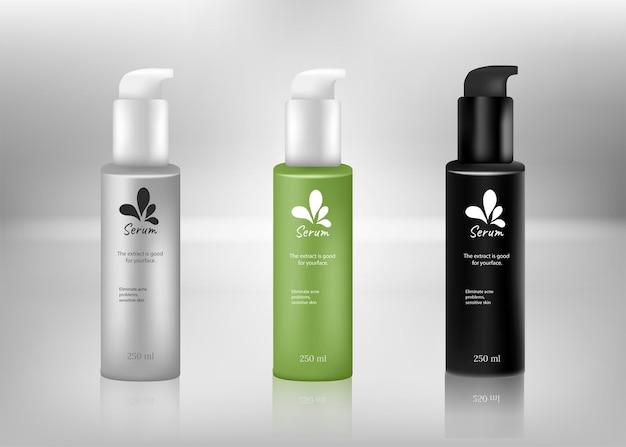 Establecer plantillas vectoriales en blanco y recipientes de plástico de color limpio, tapa de botellas, maqueta 3d realista