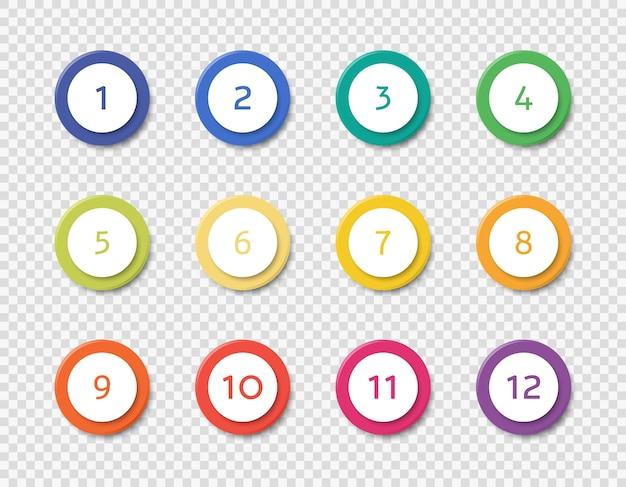 Establecer plantillas de viñetas de números infográficos ilustración vectorial realista aislada.