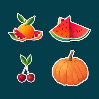 Establecer pomelo watermellon cherry calabaza frutas y verduras colección saludable concepto de comida natural