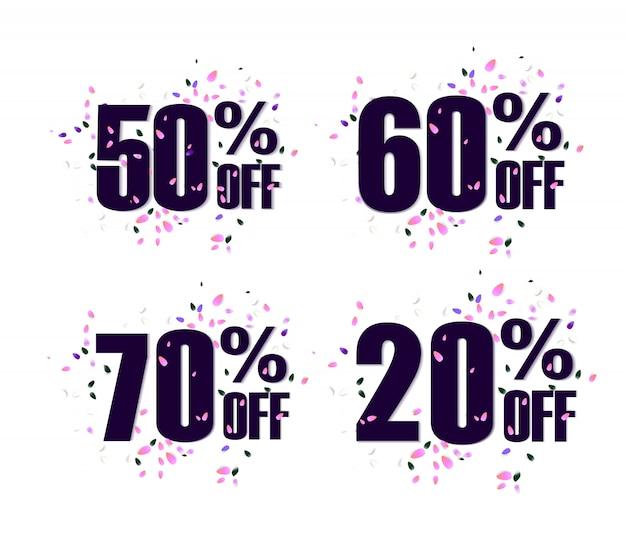 Establecer porcentaje de descuento en la etiqueta de promoción. etiqueta de venta promocional. llamaradas de vector sobre fondo blanco.
