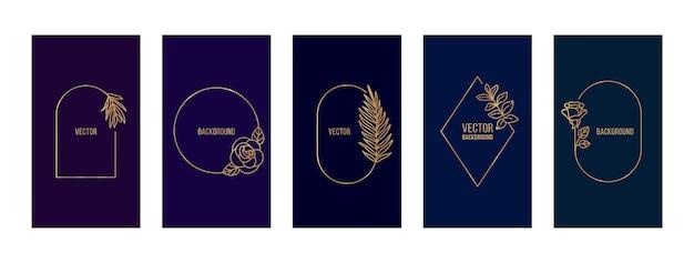 Establecer portada de historias con marcos florales de línea. fondos de pantalla móviles abstractos en plantillas de estilo minimalista de moda para historias de redes sociales. ilustración de vector en color azul oscuro y dorado