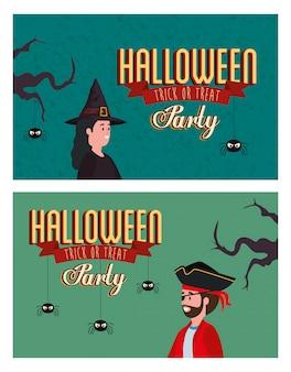 Establecer póster de fiesta de halloween con disfraz