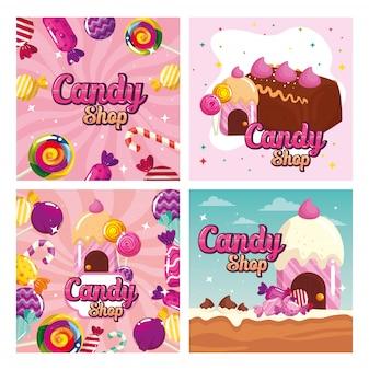 Establecer póster de tienda de dulces y decoración de caramelos