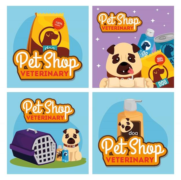 Establecer póster de veterinaria tienda de mascotas con iconos