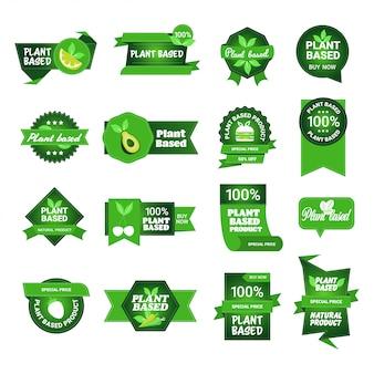 Establecer productos vegetales a base de plantas pegatinas orgánicos saludables veganos logotipos del mercado emblemas de alimentos frescos insignias colección diseño plano