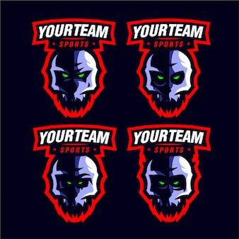 Establecer púrpura cráneo mascota juego logo