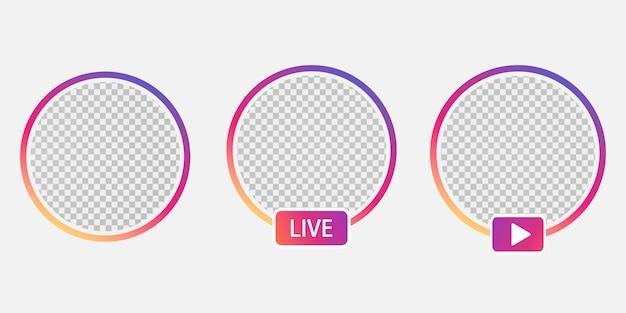 Establecer redes sociales avatar icono de usuario avatar historias usuario vivo video treaming. gradiente de colores. marco redondo para la aplicación móvil avatar.