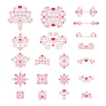Establecer remolinos, líneas, elementos decorativos con corazones
