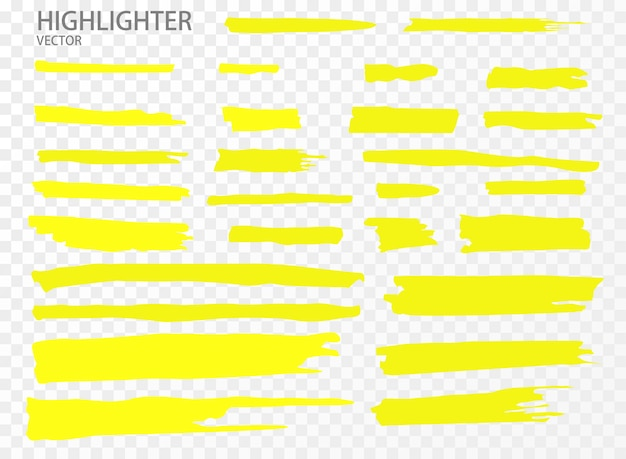 Establecer resaltador. mano dibuja rayas de marcador de resaltado amarillo.
