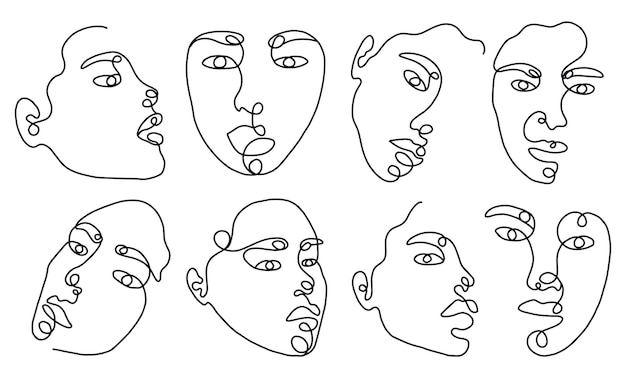 Establecer retratos de mujer lineal