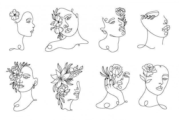 Establecer retratos de mujer lineales dibujados a mano