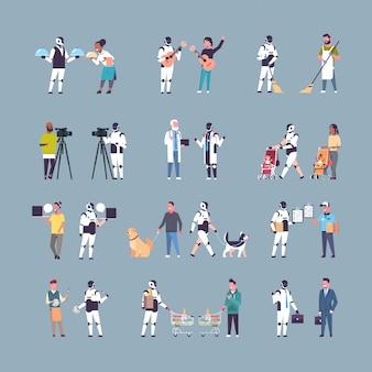 Establecer robot y humano en diferentes situaciones personaje robótico vs personas tecnología de inteligencia artificial competencia conceptos colección de cuerpo entero