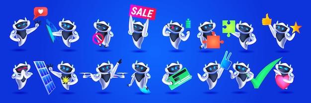 Establecer robots lindos colección de personajes robóticos modernos concepto de tecnología de inteligencia artificial ilustración vectorial horizontal