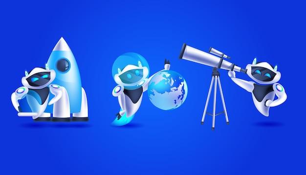 Establecer robots modernos con cohete globo y telescopio concepto de descubrimiento de inteligencia artificial