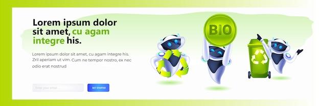 Establecer robots modernos con símbolo de reciclaje de residuos, flechas verdes, logotipo, inteligencia artificial, salvar el planeta, concepto de protección del medio ambiente, espacio de copia horizontal, ilustración vectorial