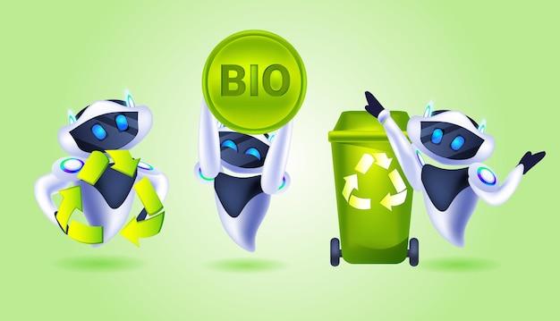 Establecer robots modernos con símbolo de reciclaje de residuos, flechas verdes, logotipo, inteligencia artificial, salvar el planeta, concepto de protección del medio ambiente, ilustración vectorial horizontal