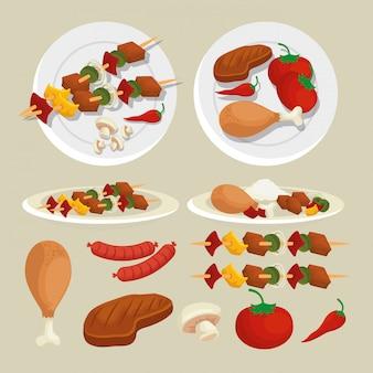 Establecer salchichas con papas y carne a la parrilla preparación