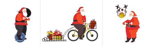 Establecer santa claus montando mono rueda ciclismo y control de drone feliz navidad vacaciones de invierno celebración concepto horizontal ilustración vectorial de longitud completa