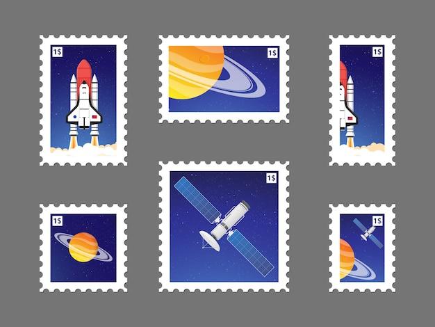 Establecer sello postal con planeta en el espacio y la ilustración de satélite