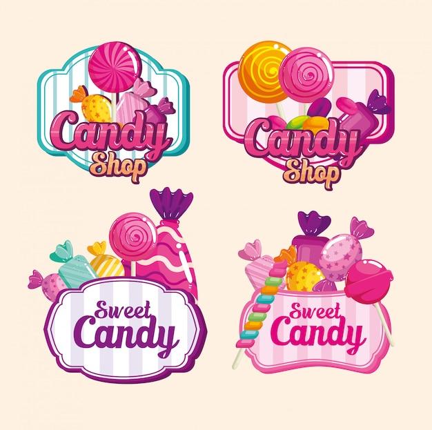 Establecer sellos de deliciosos dulces
