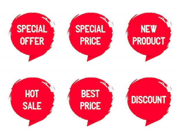 Establecer sellos con palabras para la venta
