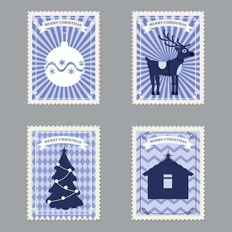 Establecer sellos postales retro feliz navidad con árbol de navidad, regalos, ciervos.