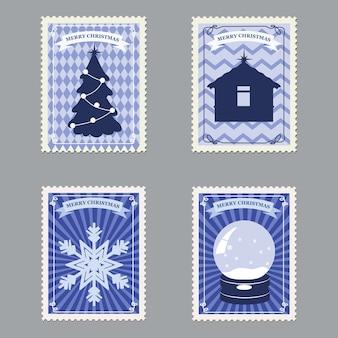 Establecer sellos postales retro feliz navidad con árbol de navidad