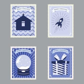 Establecer sellos postales retro feliz navidad con cohetes, regalos, cabaña y globo de nieve.