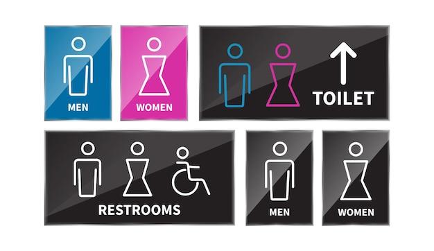 Establecer signos de aseo icono de línea de baño de hombres y mujeres
