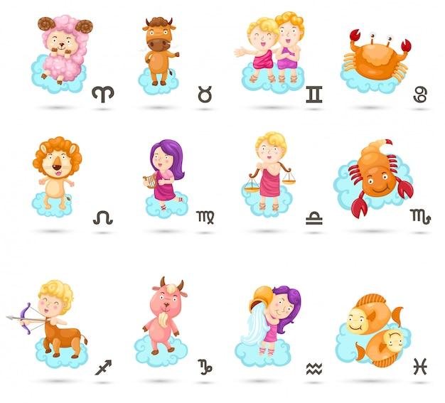 Establecer signos del zodiaco de dibujos animados