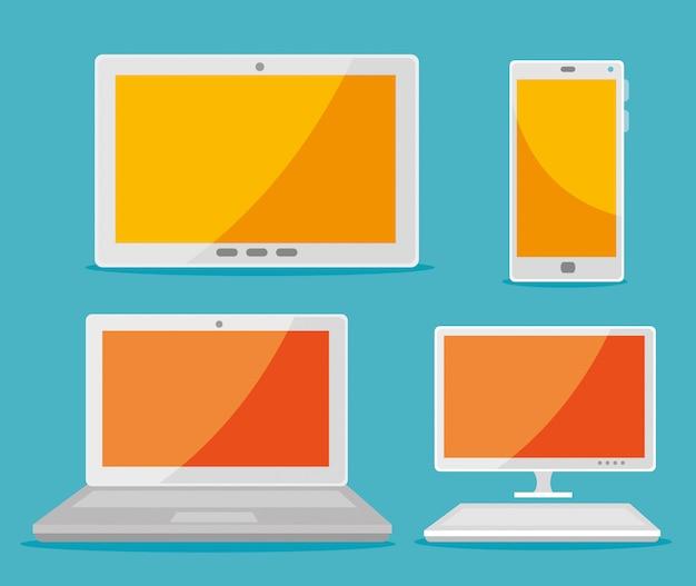 Establecer tableta con teléfono inteligente y computadora portátil con tecnología informática