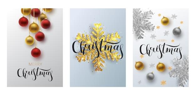 Establecer tarjeta de felicitación de navidad, fondo gris bola de navidad de oro y plata
