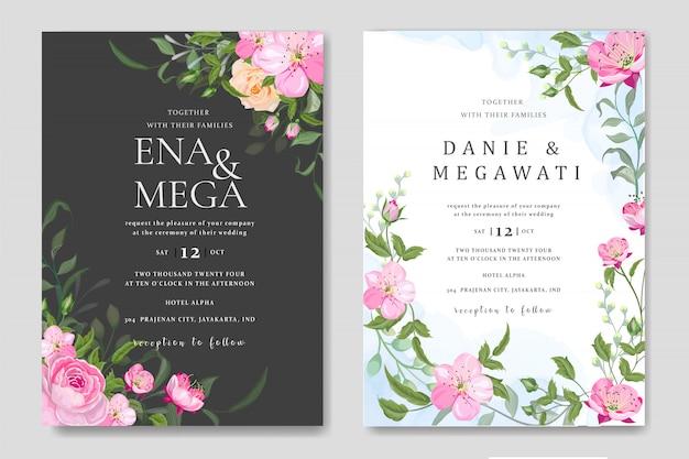 Establecer tarjeta de invitación de boda con hermosas flores hojas