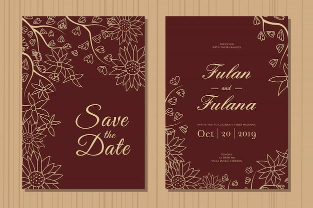 Establecer tarjeta de invitación de boda con plantilla de fondo floral de guirnalda botánica doodle dibujado a mano abstracto