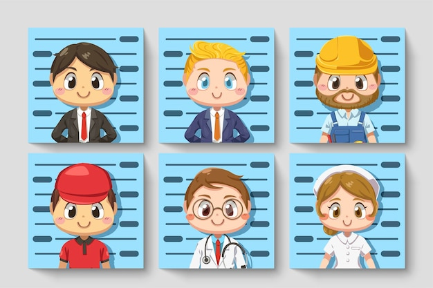 Establecer tarjeta de personas en diversas ocupaciones tome una foto de identificación en personaje de dibujos animados, ilustración plana aislada