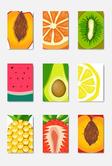 Establecer tarjeta de plantilla de fruta fresca rebanada, diseño vertical de portada de revista sobre fondo blanco, concepto de estilo de vida o dieta saludable broshure, logotipo para cartel de frutas, plano