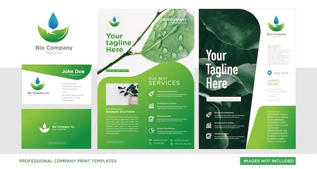 Establecer tarjeta de presentación y folleto para base verde corporativa