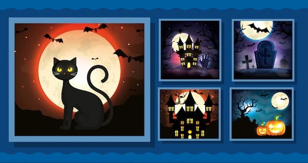 Establecer tarjetas con escenas de halloween