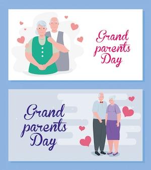 Establecer tarjetas de feliz día de los abuelos con lindo diseño de ilustración de personas mayores