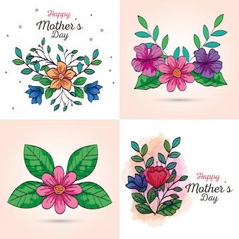 Establecer tarjetas de feliz día de la madre con decoración de flores