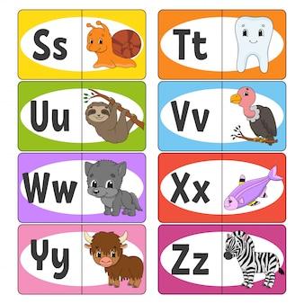 Establecer tarjetas flash abc, alfabeto para niños.