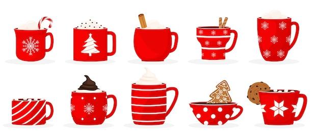 Establecer una taza de navidad de vacaciones de invierno con una bebida caliente