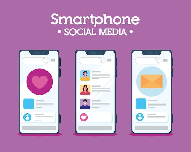 Establecer teléfono inteligente, notificación de chat y concepto de redes sociales