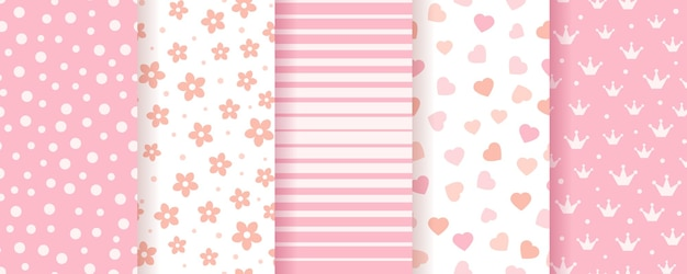 Establecer texturas de álbumes de recortes en colores pastel con puntos, rayas, flores y corazones