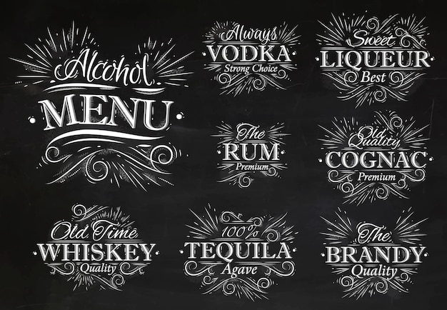 Establecer tiza de menú de alcohol