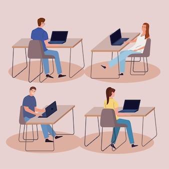 Establecer trabajadores de oficina