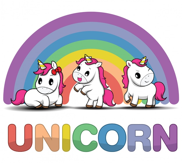Establecer unicornio sonriente de dibujos animados lindo sobre un fondo blanco con estrellas y puntos