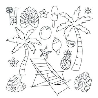 Establecer vacaciones de elemento de páginas para colorear. en blanco y negro. piso abstracto. aislado en un fondo blanco